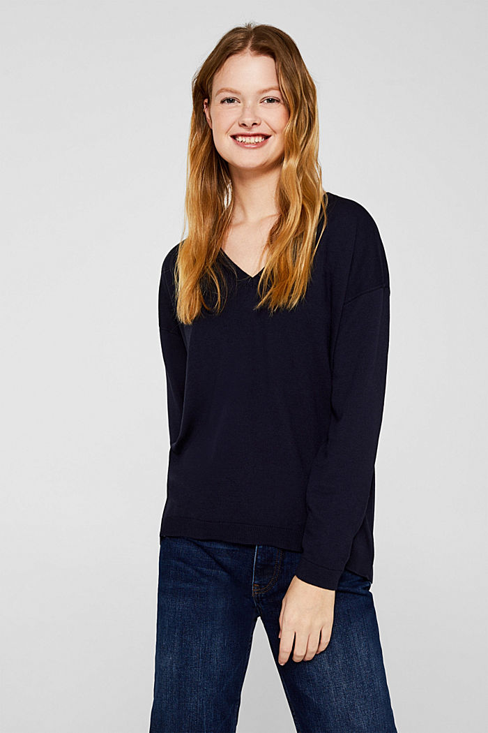 V-neck jumper, organic cotton, NAVY, detail image number 0
