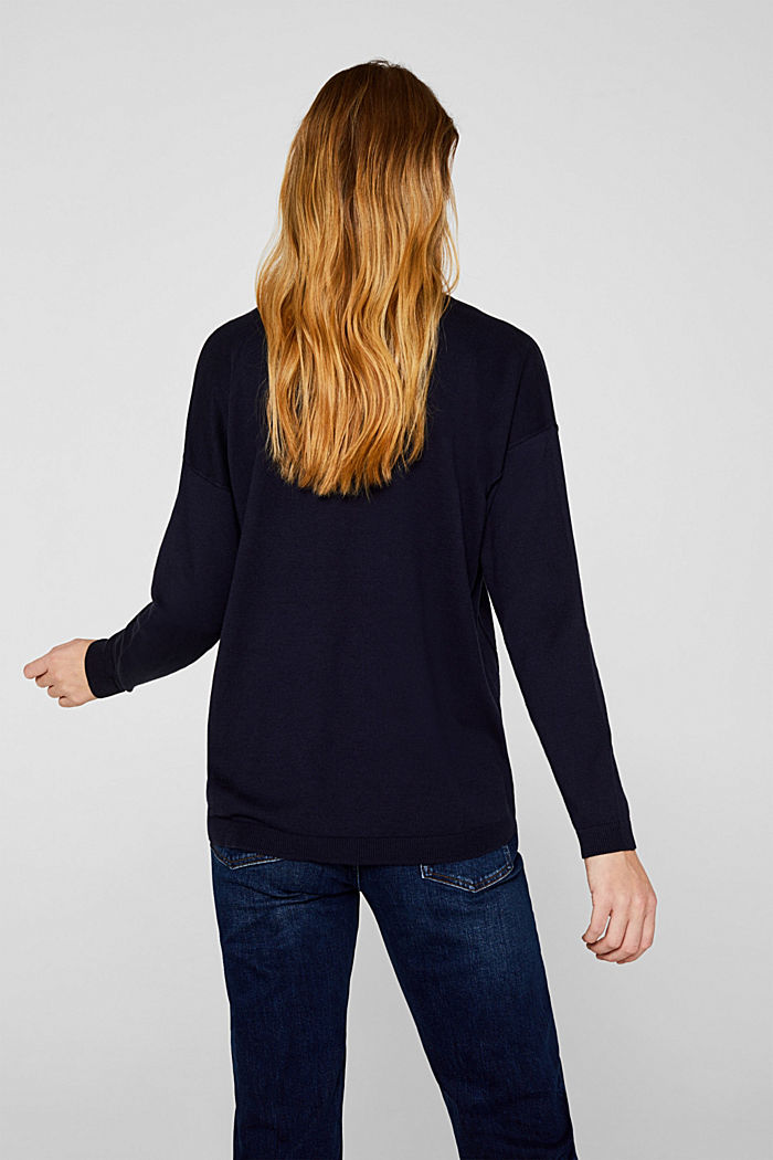 V-neck jumper, organic cotton, NAVY, detail image number 3