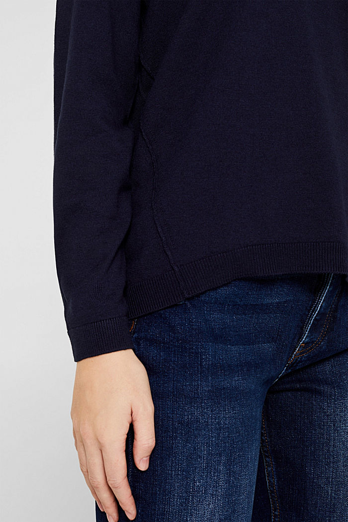 V-neck jumper, organic cotton, NAVY, detail image number 2