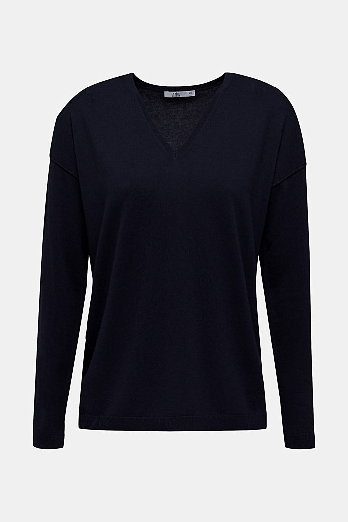 V-neck jumper, organic cotton, NAVY, detail image number 6