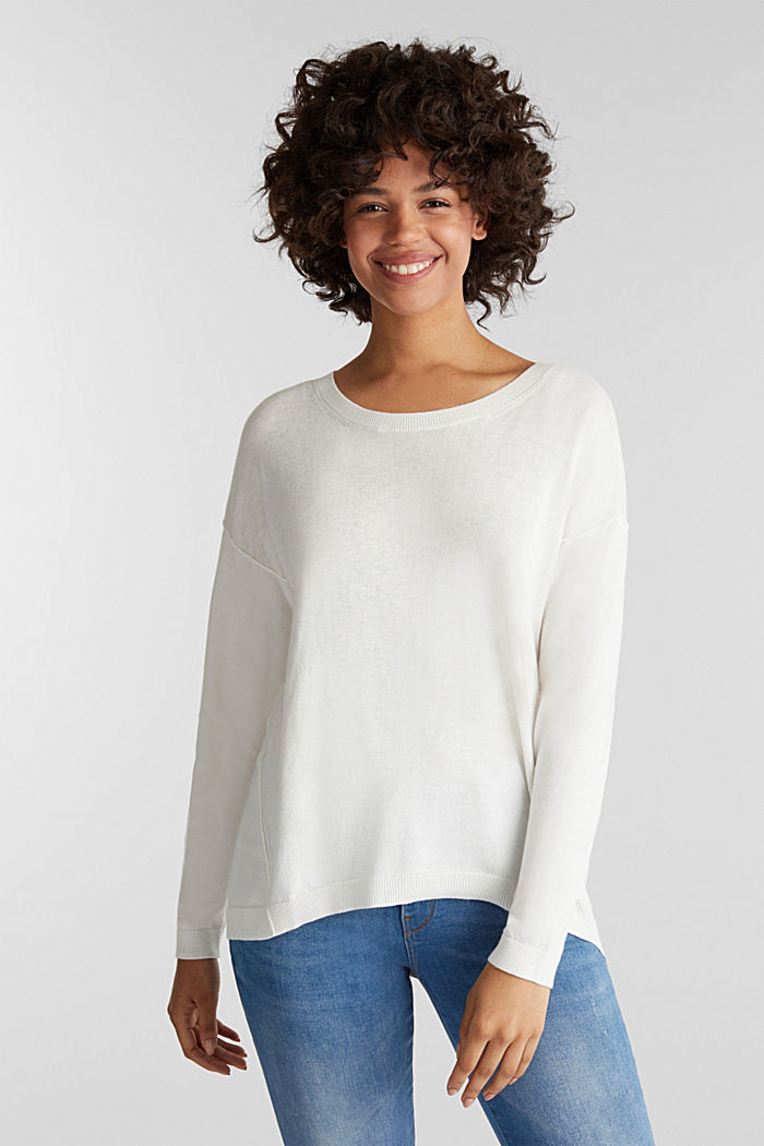 Jumper with organic cotton, OFF WHITE, detail image number 0