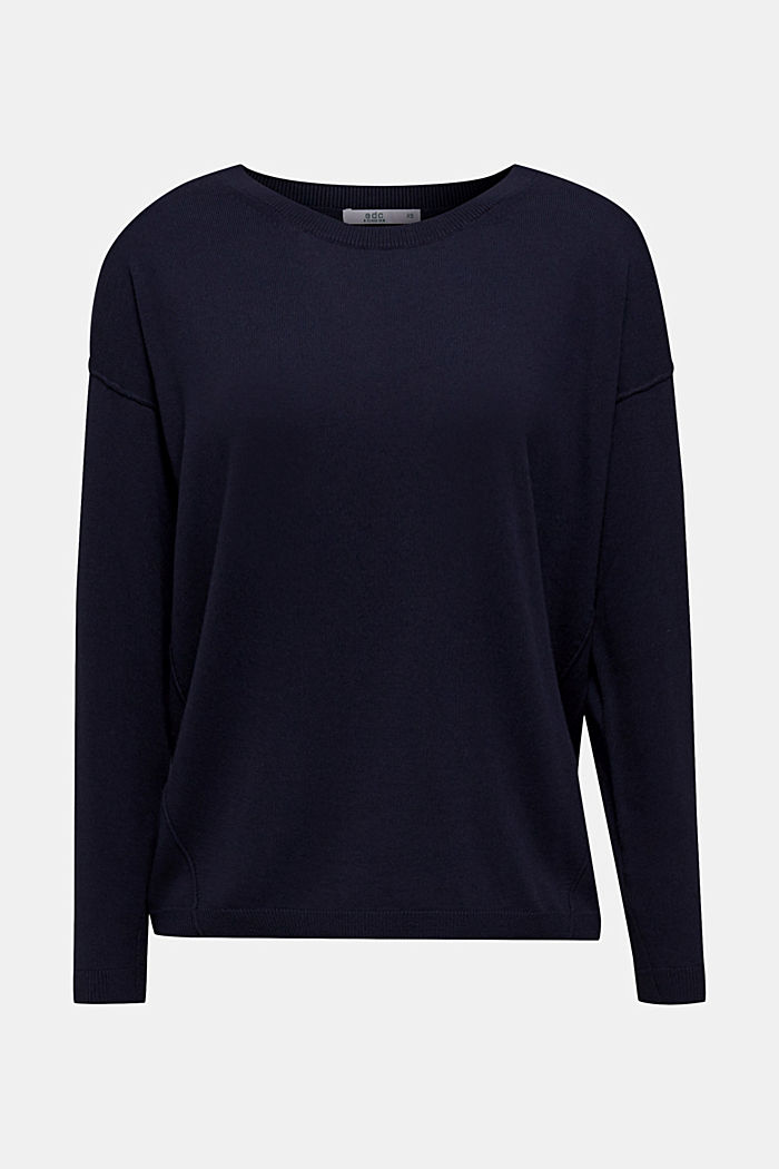 Jumper with organic cotton, NAVY, overview