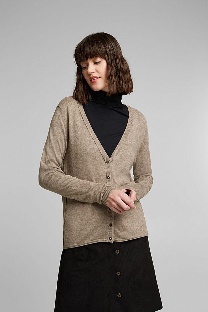 Basic cardigan with organic cotton, TAUPE, detail image number 0