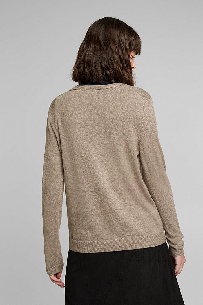 Basic cardigan with organic cotton, TAUPE, detail image number 3