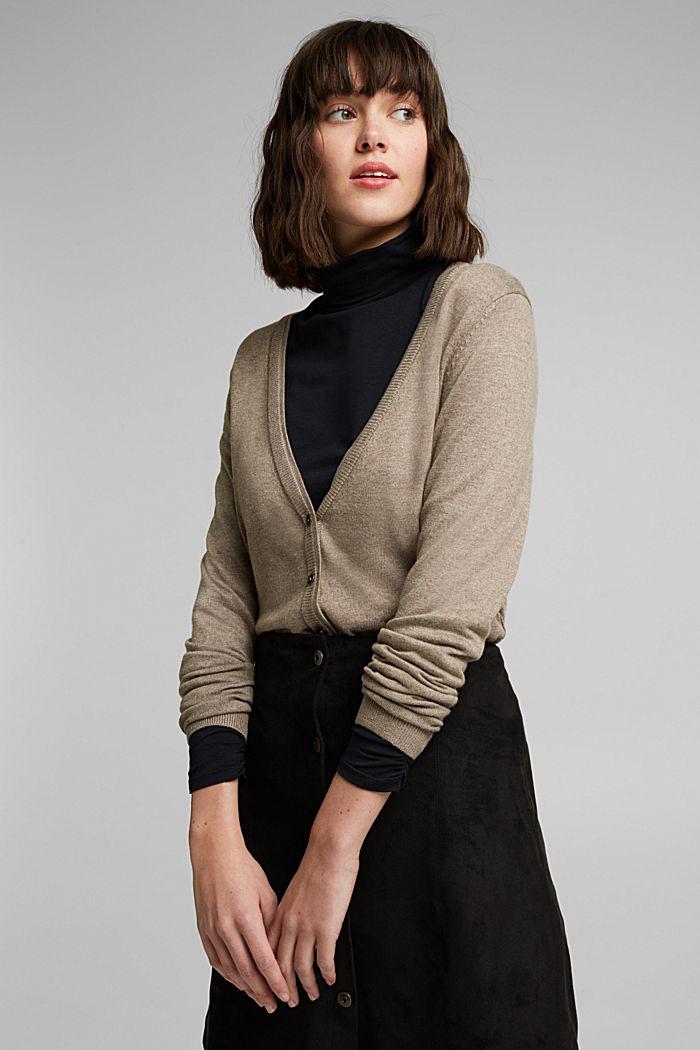 Basic cardigan with organic cotton, TAUPE, detail image number 5