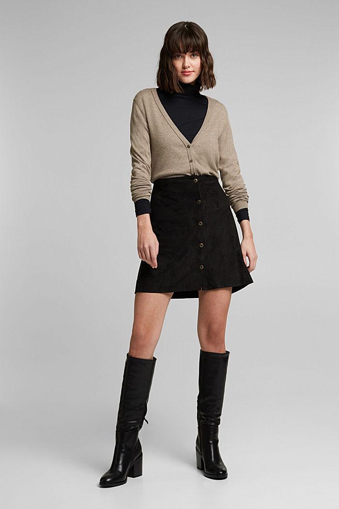 Basic cardigan with organic cotton, TAUPE, detail image number 1