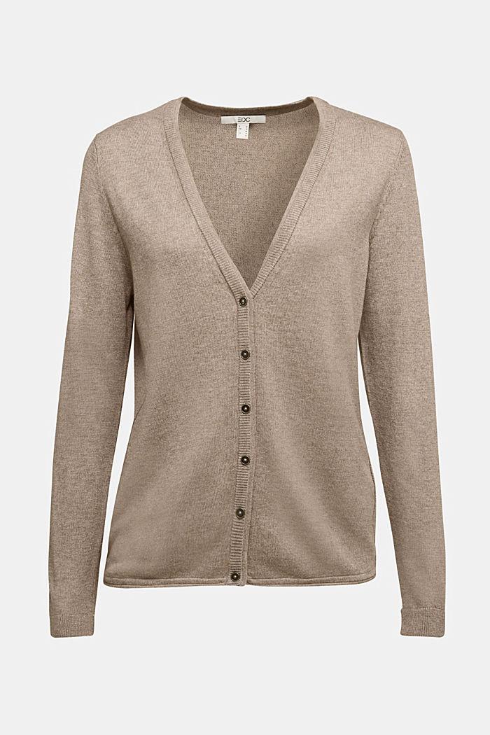 Basic cardigan with organic cotton, TAUPE, detail image number 6