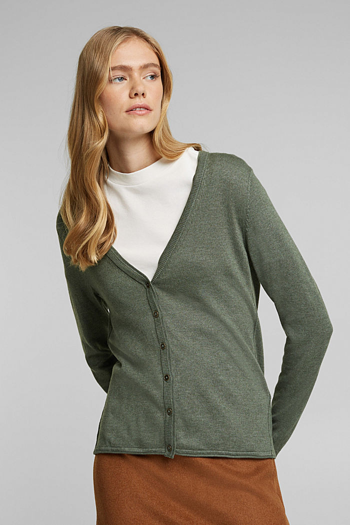 Basic cardigan with organic cotton, KHAKI GREEN, detail image number 0