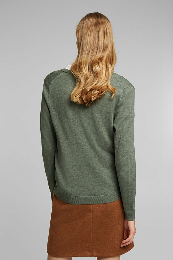 Basic cardigan with organic cotton, KHAKI GREEN, detail image number 3