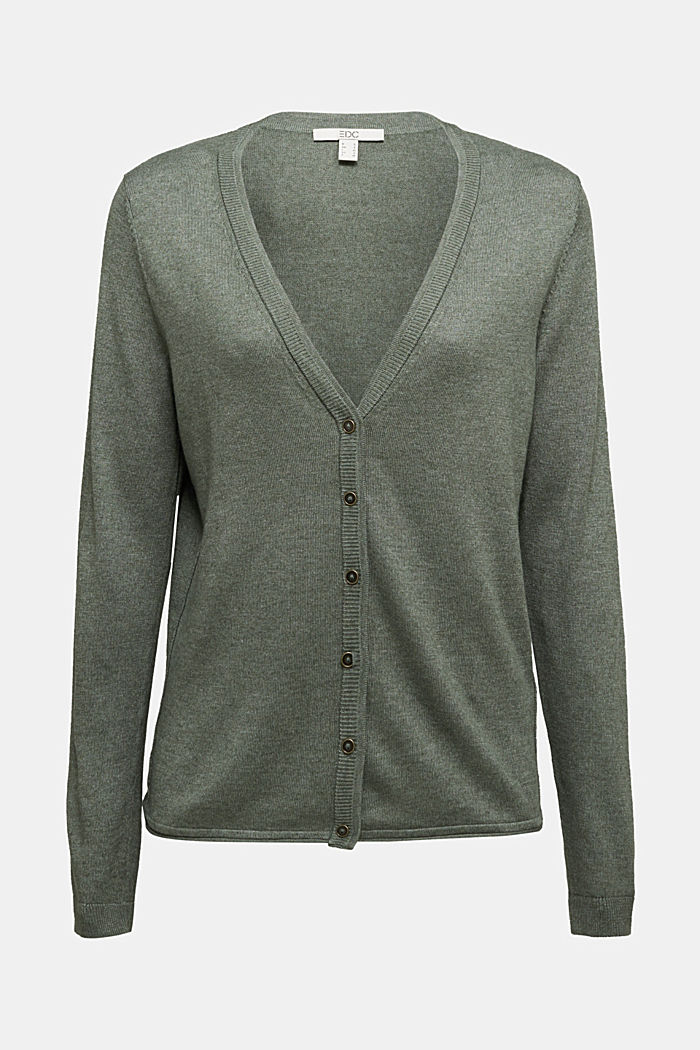 Basic cardigan with organic cotton, KHAKI GREEN, overview