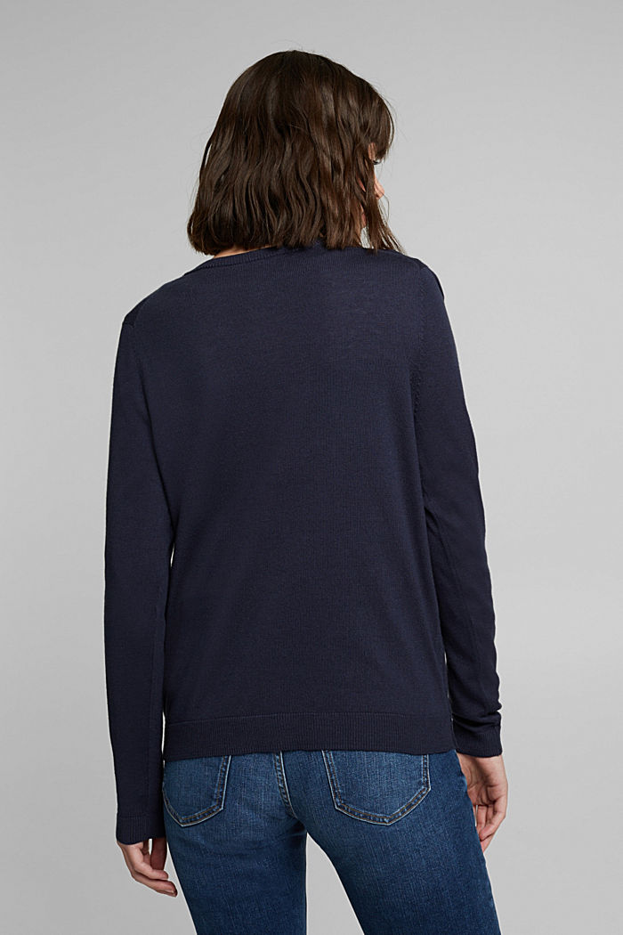 Basic cardigan with organic cotton, NAVY, detail image number 3