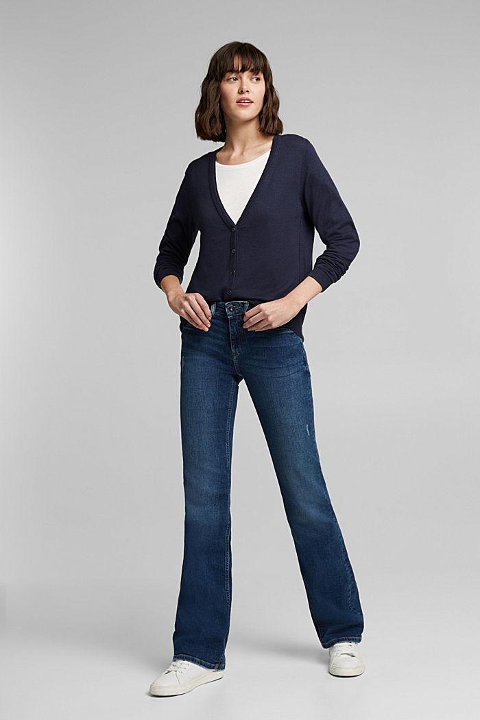 Basic cardigan with organic cotton, NAVY, detail image number 1