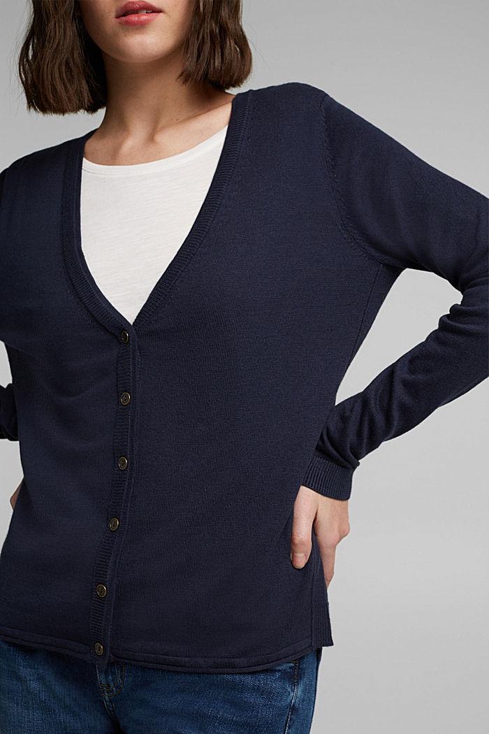 Basic cardigan with organic cotton, NAVY, detail image number 2