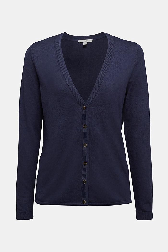 Basic cardigan with organic cotton, NAVY, detail image number 4
