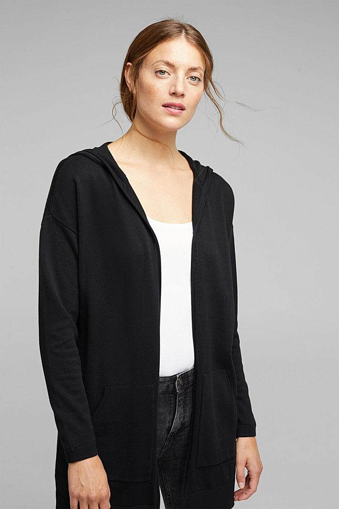 Long cardigan containing organic cotton, BLACK, detail image number 0