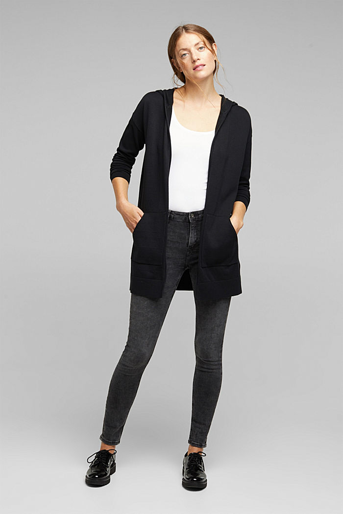 Long cardigan containing organic cotton, BLACK, overview