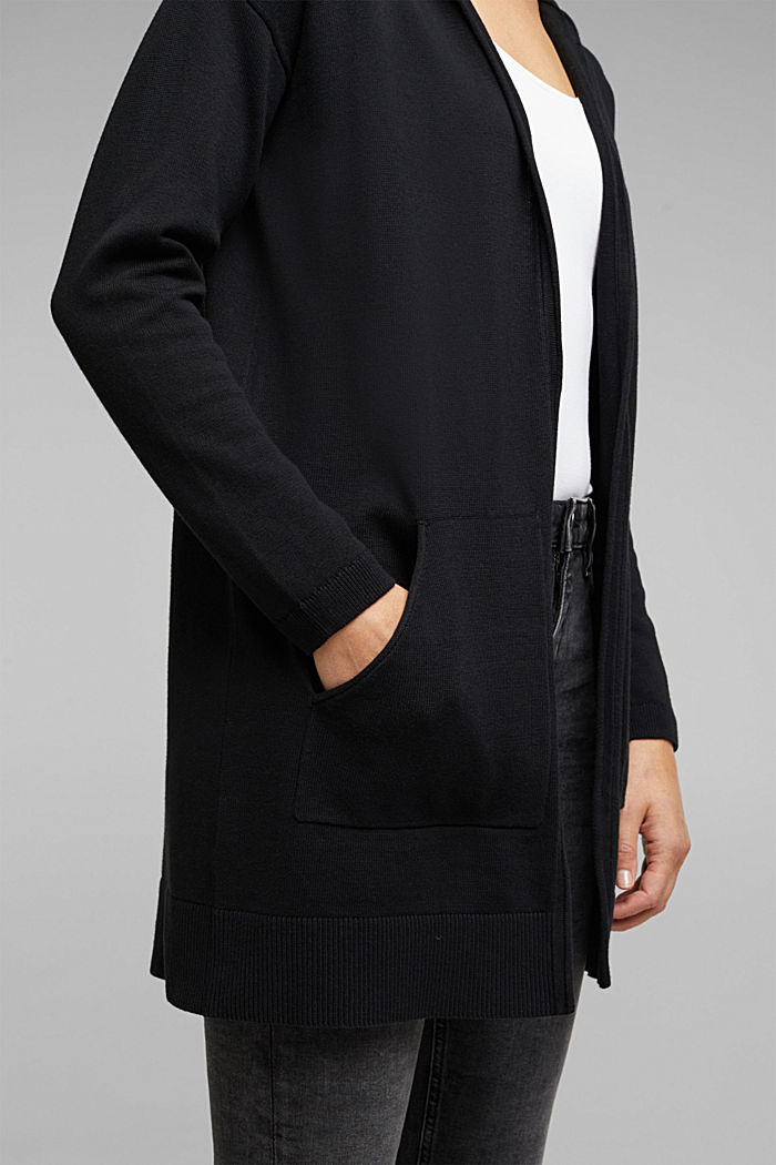Long cardigan containing organic cotton, BLACK, detail image number 2