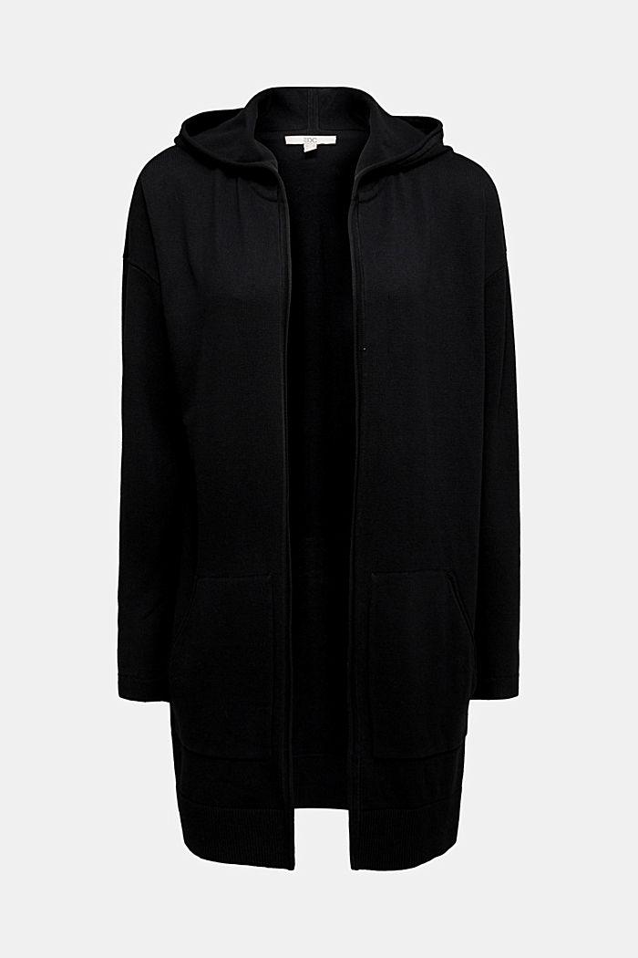 Long cardigan containing organic cotton, BLACK, detail image number 5