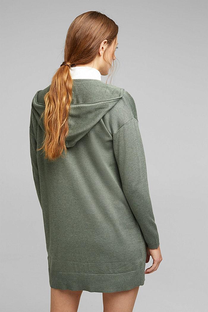 Long cardigan containing organic cotton, KHAKI GREEN, detail image number 3