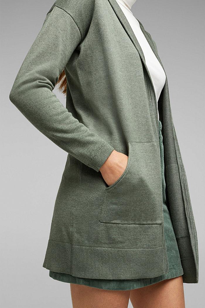 Long cardigan containing organic cotton, KHAKI GREEN, detail image number 2