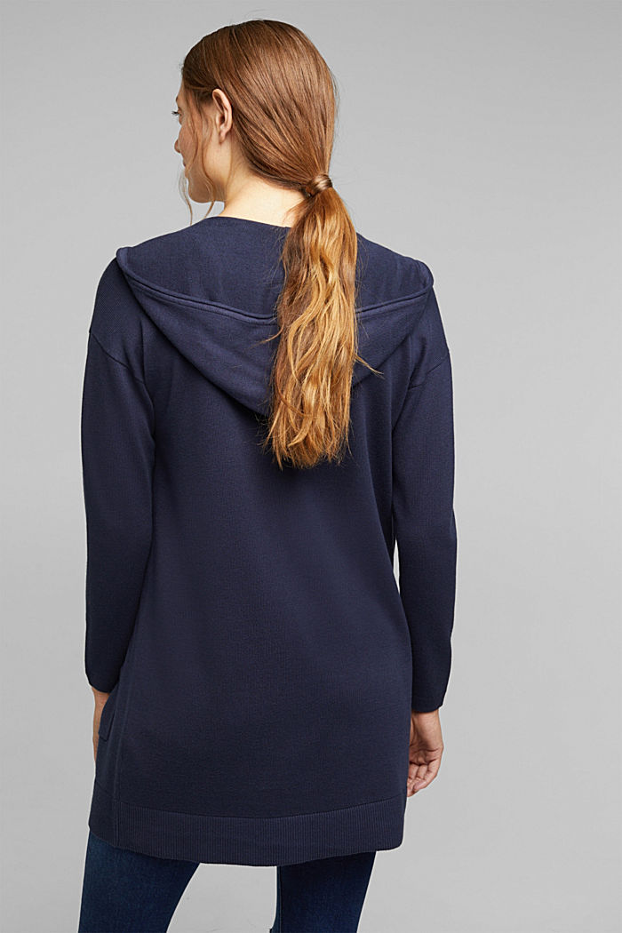 Long cardigan containing organic cotton, NAVY, detail image number 3