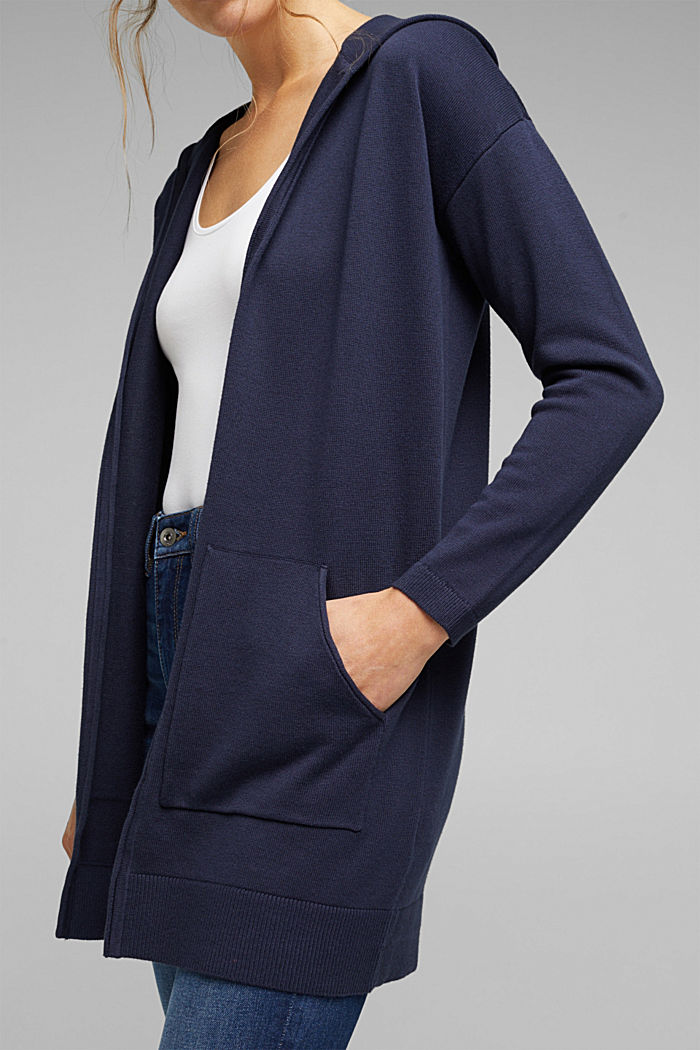 Long cardigan containing organic cotton, NAVY, detail image number 2