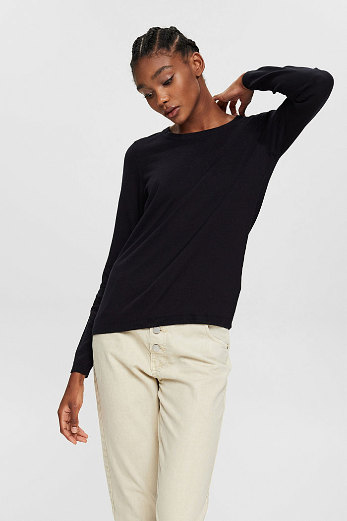 Pullover mit Organic Cotton, BLACK, detail image number 0