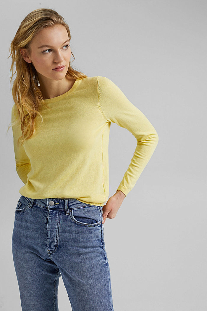 Jumper with organic cotton, LIGHT YELLOW, detail image number 0