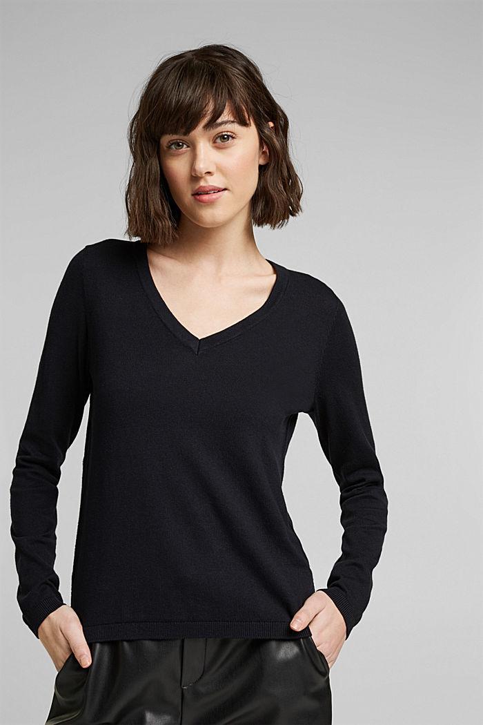 Jersey con cuello en pico y algodón ecológico, BLACK, detail image number 0