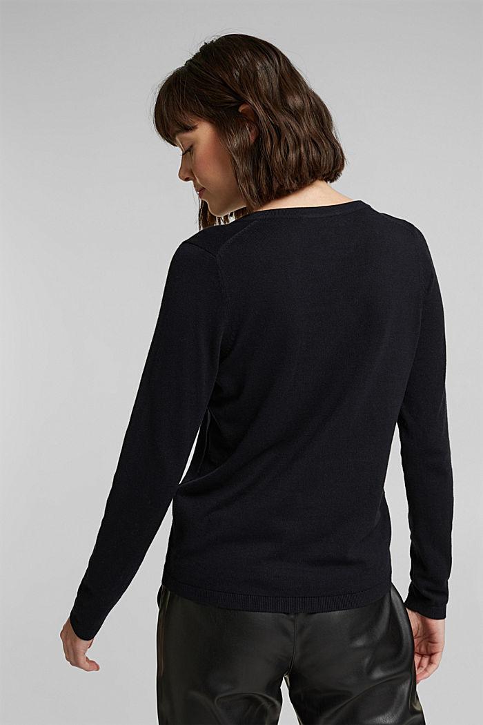 Jersey con cuello en pico y algodón ecológico, BLACK, detail image number 3