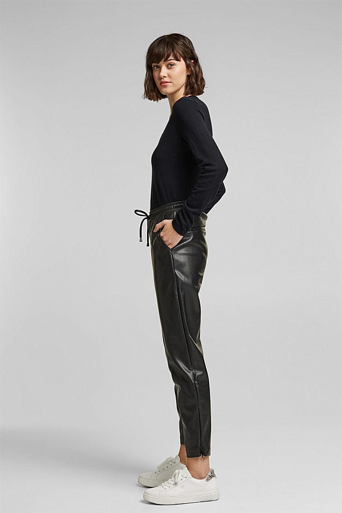 Jersey con cuello en pico y algodón ecológico, BLACK, detail image number 1