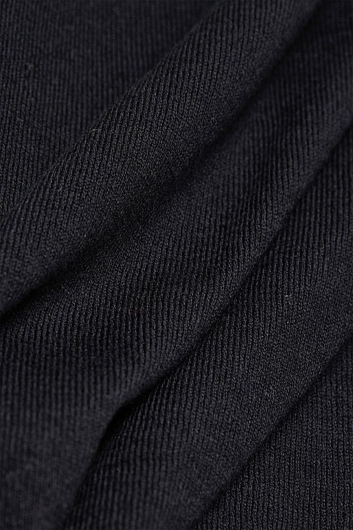 Jersey con cuello en pico y algodón ecológico, BLACK, detail image number 4