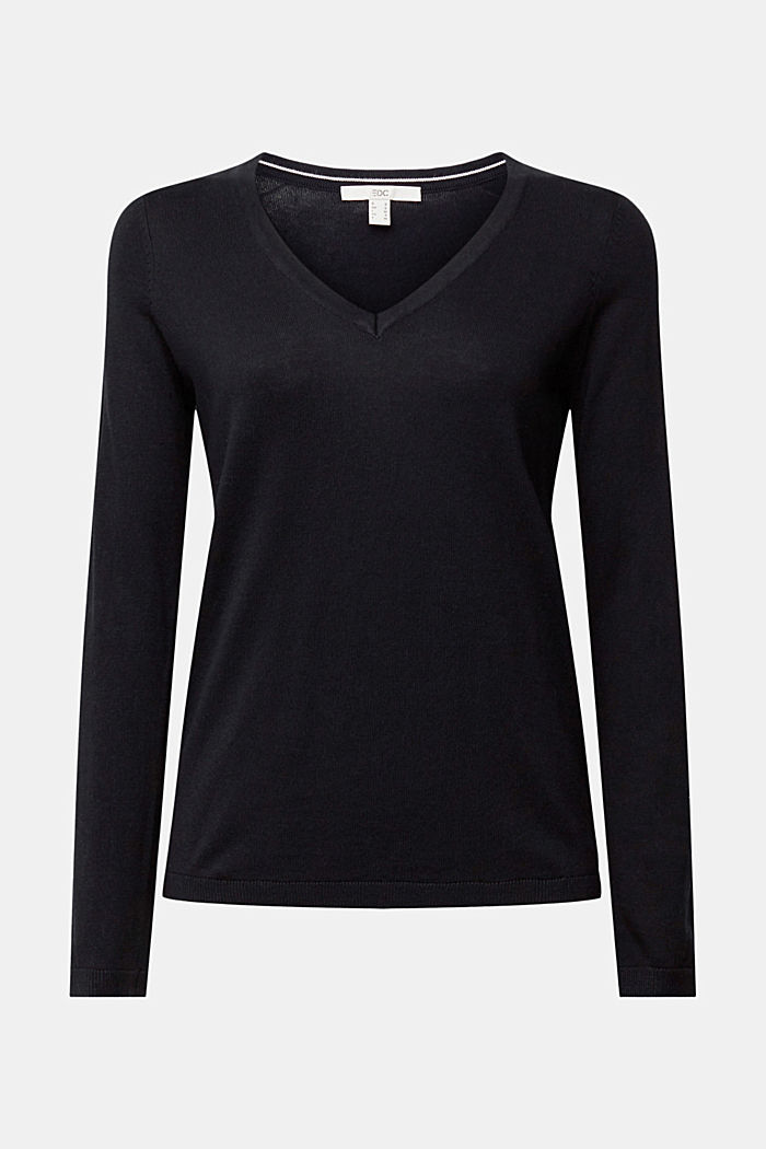 V-neck jumper containing organic cotton, BLACK, detail image number 6