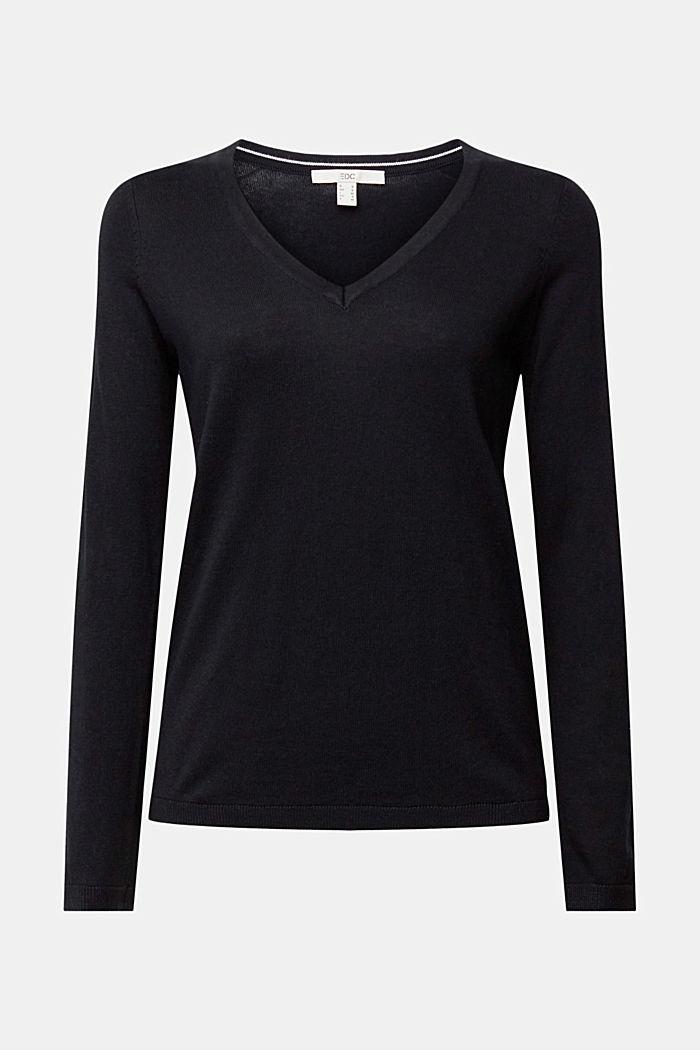 Jersey con cuello en pico y algodón ecológico, BLACK, detail image number 6