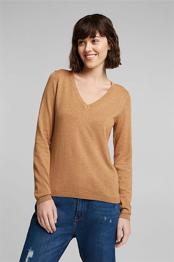 V-Neck-Pullover mit Organic Cotton, CARAMEL, detail image number 0