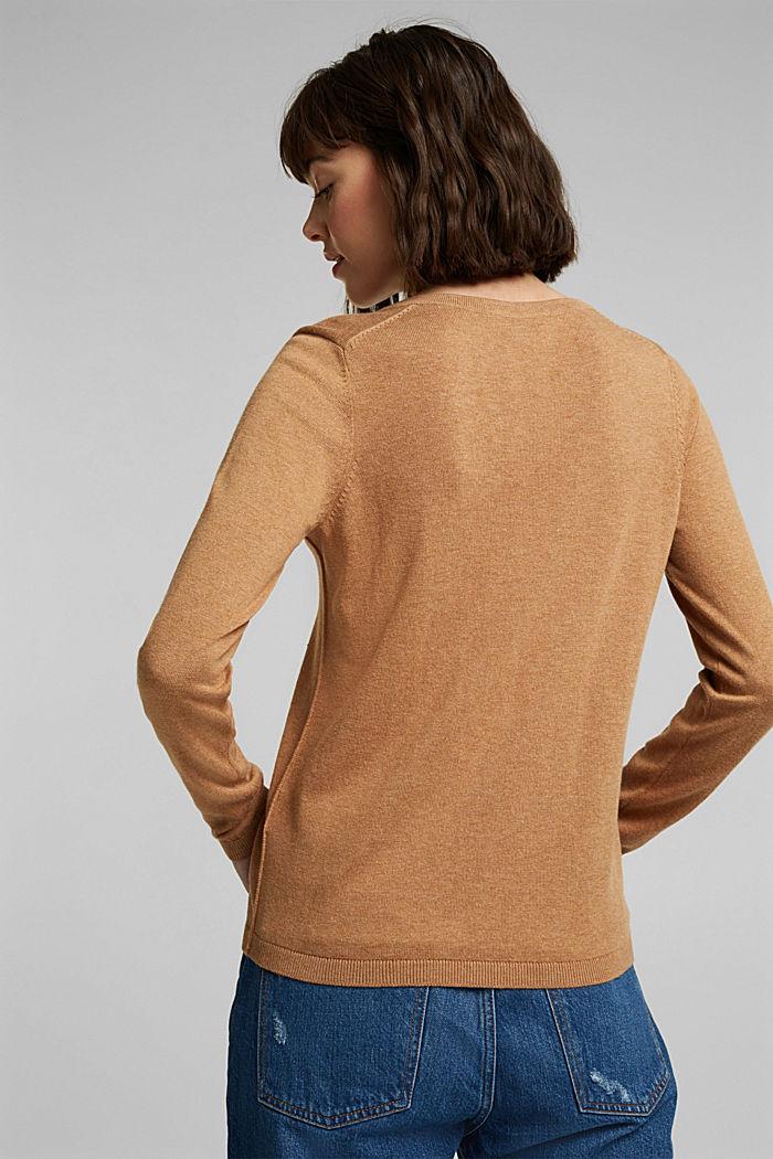 V-Neck-Pullover mit Organic Cotton, CARAMEL, detail image number 3