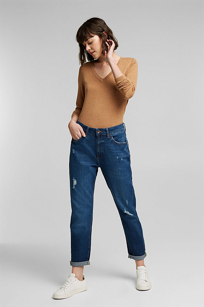 V-Neck-Pullover mit Organic Cotton, CARAMEL, detail image number 1