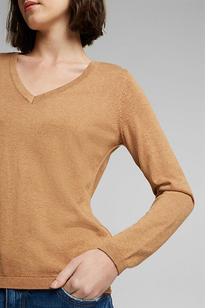 V-Neck-Pullover mit Organic Cotton, CARAMEL, detail image number 2
