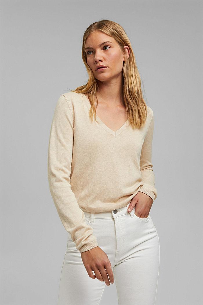 V-Neck-Pullover mit Organic Cotton, BEIGE, detail image number 0
