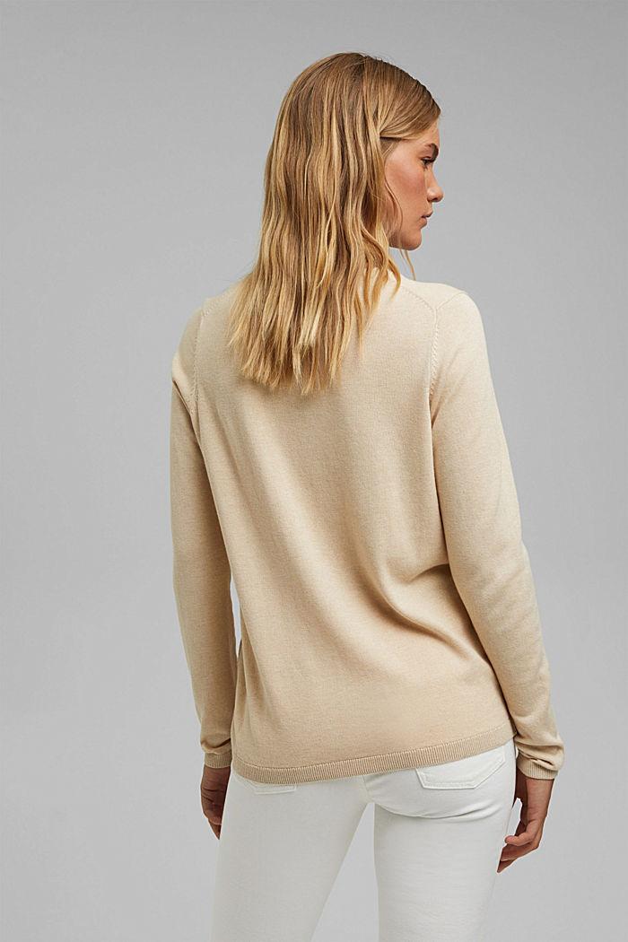 V-Neck-Pullover mit Organic Cotton, BEIGE, detail image number 3