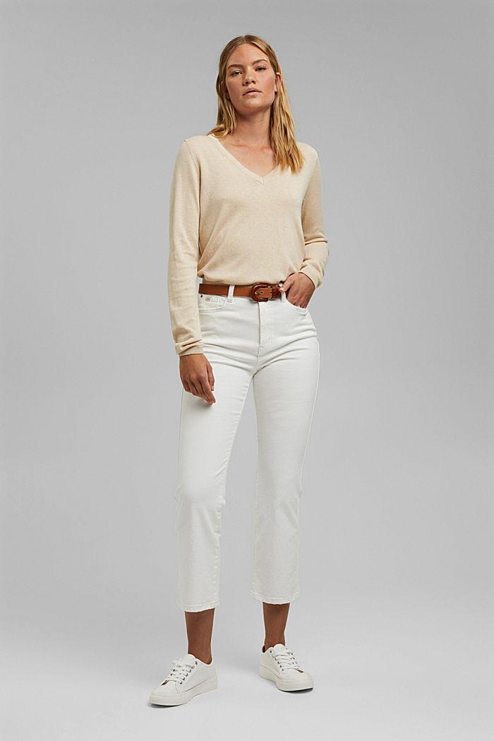 V-Neck-Pullover mit Organic Cotton, BEIGE, detail image number 1