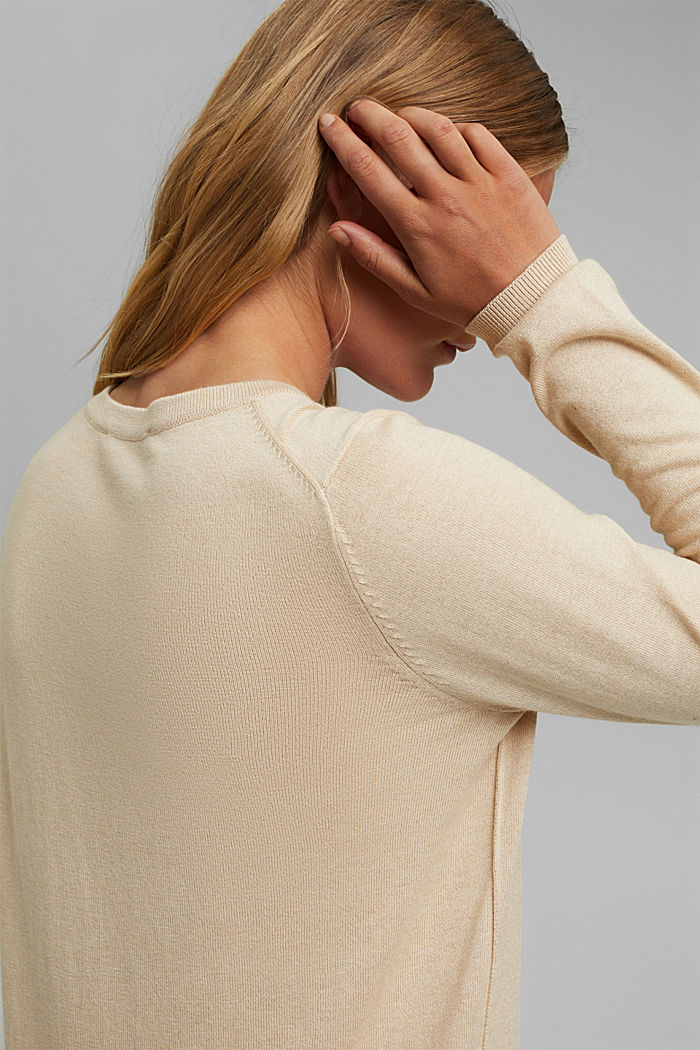 V-Neck-Pullover mit Organic Cotton, BEIGE, detail image number 2