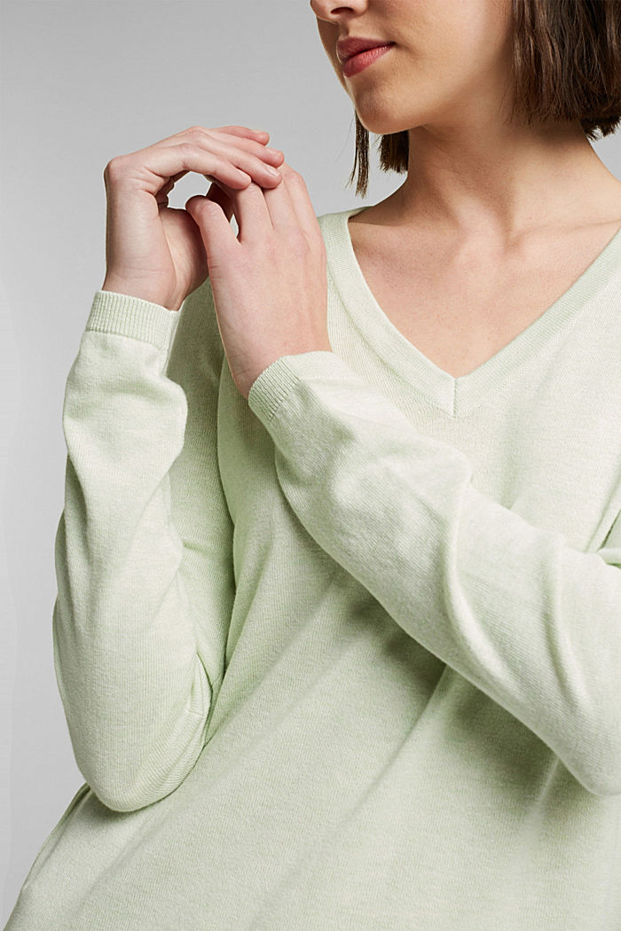 V-neck jumper containing organic cotton, PASTEL GREEN, detail image number 2