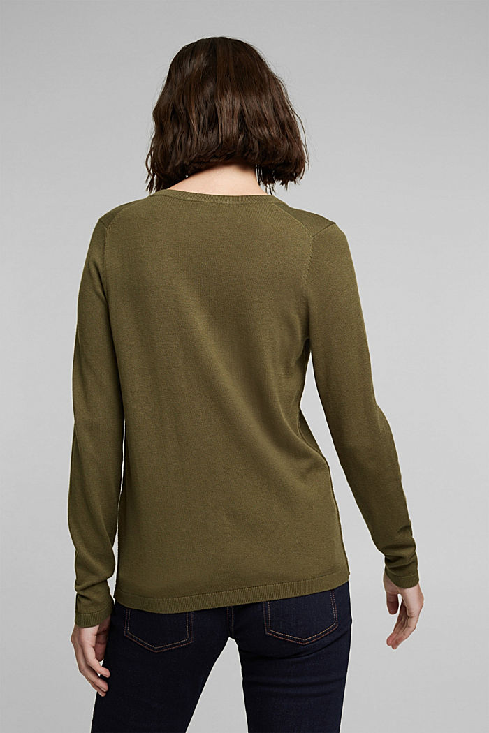 V-neck jumper containing organic cotton, KHAKI GREEN, detail image number 3