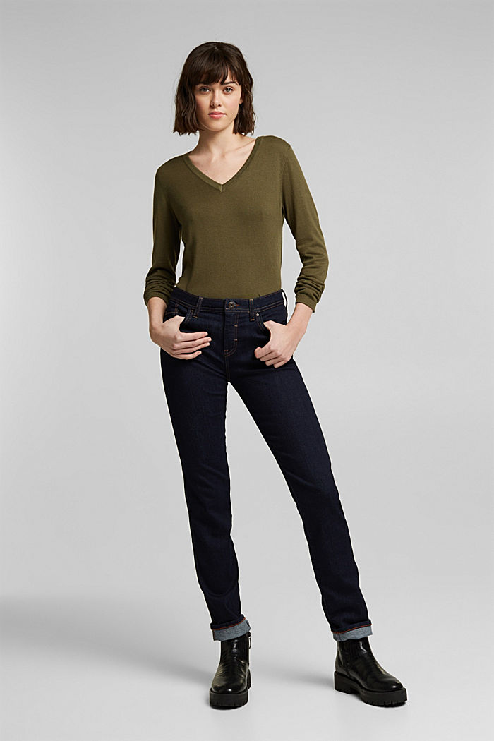 V-neck jumper containing organic cotton, KHAKI GREEN, detail image number 1