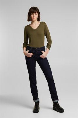 V-neck jumper containing organic cotton, KHAKI GREEN, detail
