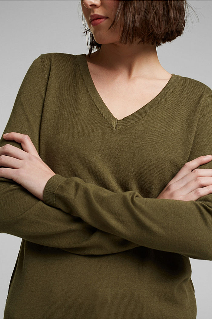 V-neck jumper containing organic cotton, KHAKI GREEN, detail image number 2