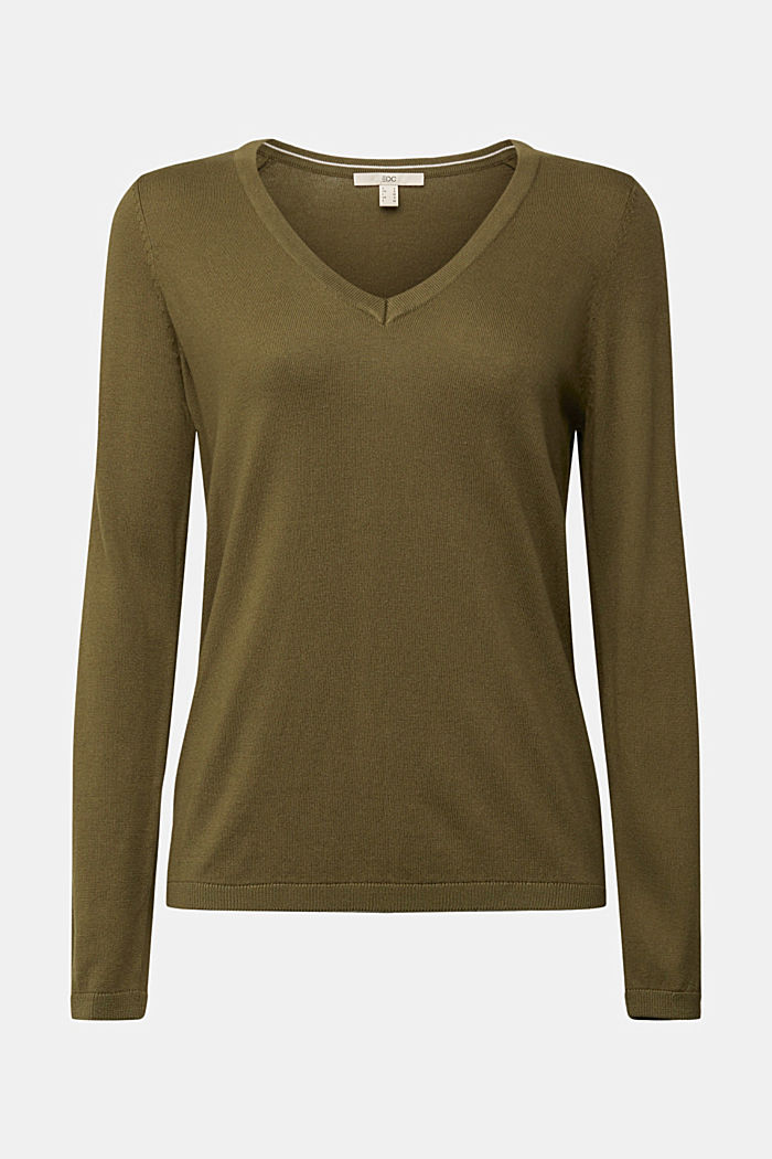 V-neck jumper containing organic cotton, KHAKI GREEN, detail image number 5