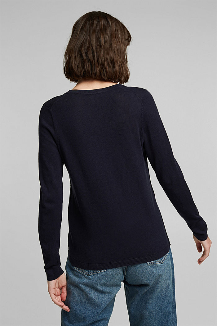 V-neck jumper containing organic cotton, NAVY, detail image number 3