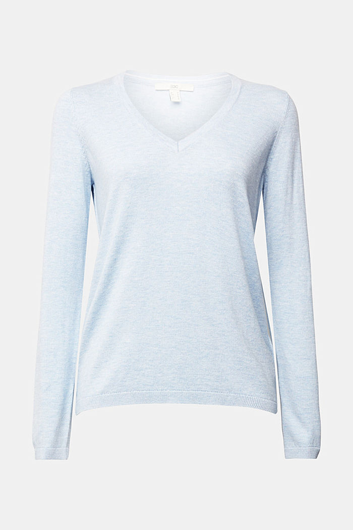 V-neck jumper containing organic cotton, LIGHT BLUE LAVENDER, overview